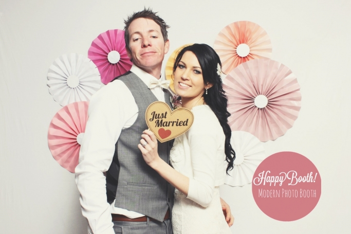 married Couple in a wedding photobooth at byron bay