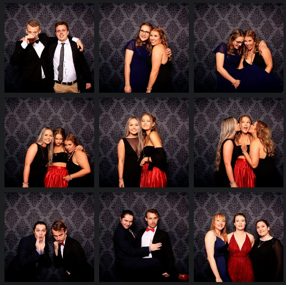 Wright College Ball 2018 UNE Armidale students in photo booth supplied by Happy booth at armidale city bowling club