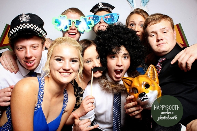 students in photobooth at farrer school formal at west leagues club tamworth
