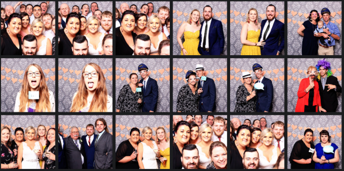 photo booth images from a wedding at Armidlae City Bowling Club by Happy Booth